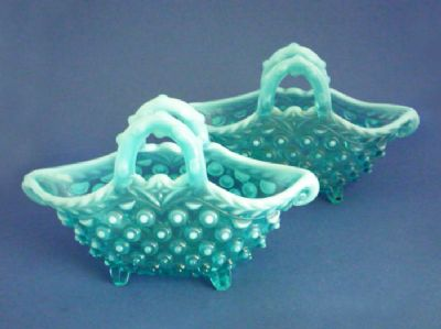 Large Pair of Greener Blue Opalescent Pearline Glass 'Contessa' Baskets c1890